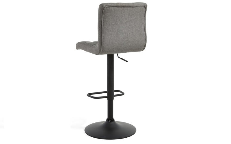 Bar Stool With High Back & 360° Swivel Fabric Seat - Grey | Beige