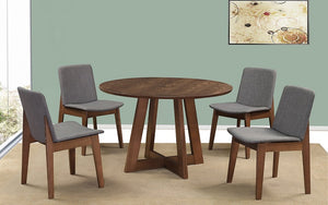 Kitchen Set with Round Top - 5 pc - Walnut & Grey