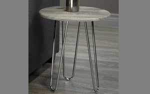 End Table with Round Top - Driftwood & Chrome