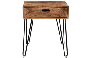 End Table with Drawer – Natural & Black