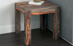 End Table with Solid Wood - Natural & Grey