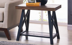 End Table with Shelf – Rustic Oak & Black
