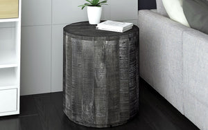 End Table with Solid Wood - Distressed Grey
