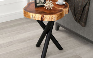 End Table with Solid Wood - Natural & Black