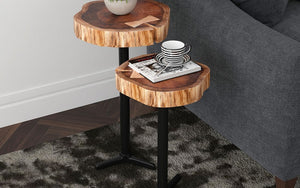 End Table with Solid Wood - Natural & Black - 2 pc