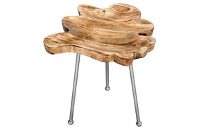 End Table with Solid Wood - Natural & Chrome