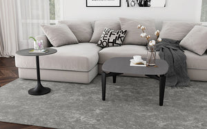 Coffee Table with Round Top – Dark Grey & Black