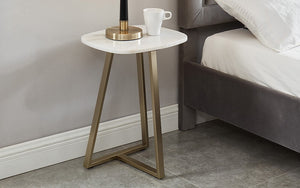 End Table with Marble Top - Champagne Gold