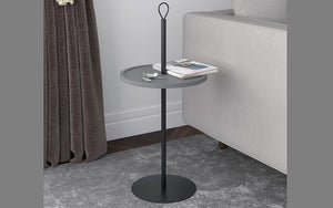 End Table with Round Top - Grey