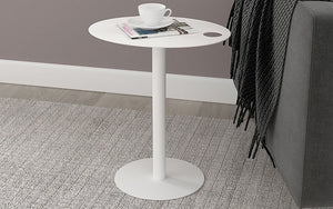 End Table with Metal Top - White