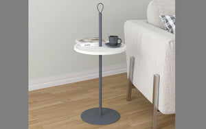 End Table with Round Top - White & Grey
