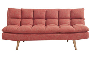 Fabric Sofa Bed with Wooden Legs - Red