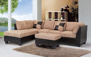 Fabric Sectional Set with Reversible Chaise and Ottoman - Taupe | Brown