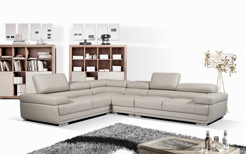 Leather Sectional Sofa with Adjustable Headrest - Charcoal | Grey