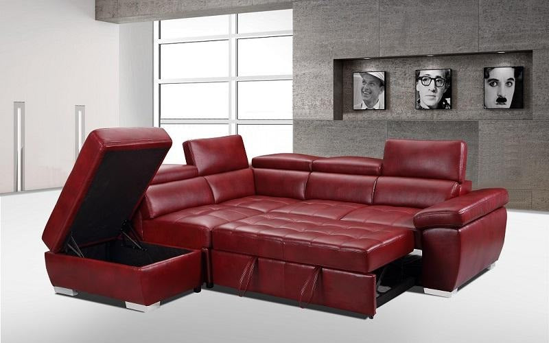 Leather Sectional Sofa with Right Side Chaise - Black | Red