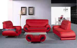 Sofa Set - 4 Piece - Red | Black