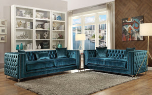 Sofa Set - 2 Piece - Turquoise Blue
