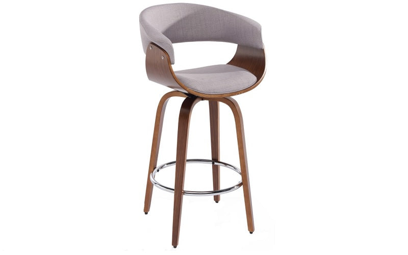 Bar Stool With Bent Wood Frame & 360° Swivel Seat - Beige | Grey
