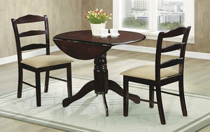Kitchen Set Solid Wood with Extendable Leafs - 3 pc - Espresso | Beige