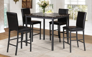 Pub Set with Chairs - 5 pc - Espresso | Gun Metal Grey