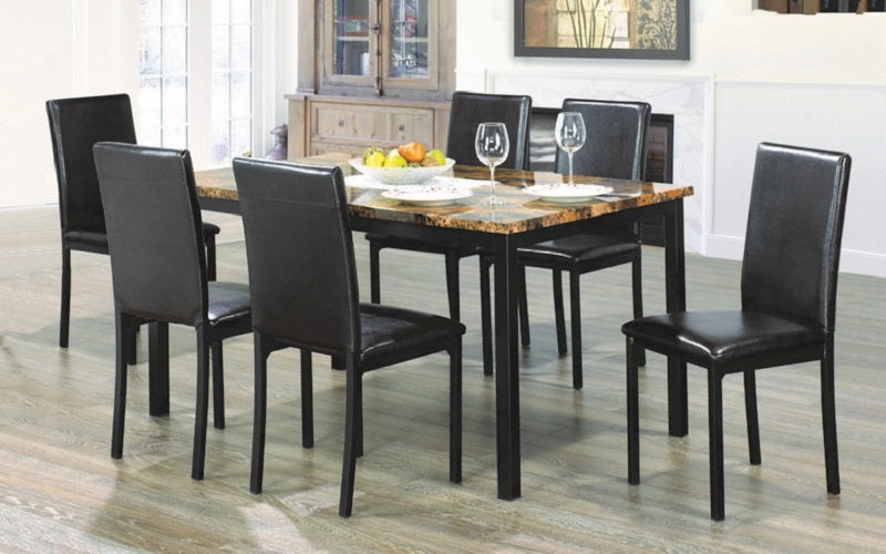 Kitchen Set with Marble Top - 5 pc or 7 pc - Brown | Black