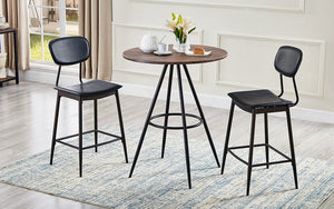 Pub Set with Chairs - 3 pc - Wood & Black
