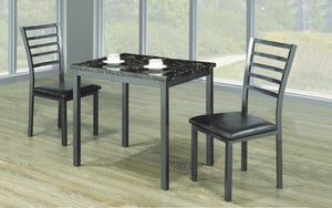 Kitchen Set with Marble Top - 3 pc - Black | Grey