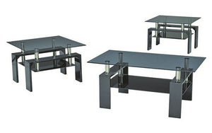 Coffee Table Set with Glass Top with Shelf - 3 pc - Black