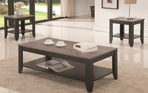 Coffee Table Set with Shelf - 3 pc - Espresso | Reclaimed Wood