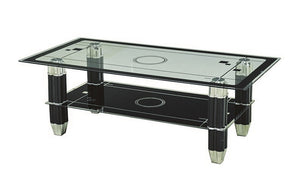 Coffee Table with Glass Top - Black