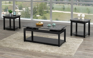 Coffee Table Set with Marble Lift Top - 3 pc - Black | Grey