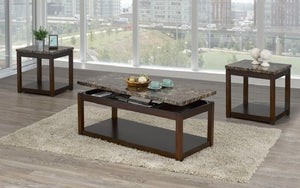 Coffee Table Set with Marble Lift Top - 3 pc - Brown | Brown