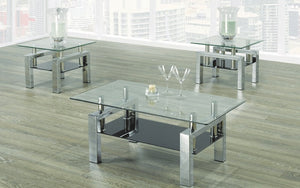 Coffee Table Set with Glass Top with Shelf - 3 pc - Chrome