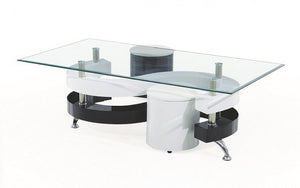 Coffee Table with 2 Stools - Black | White