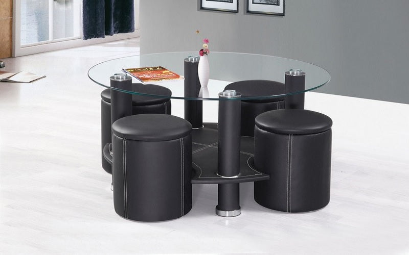 Coffee Table With 4 Stools Black Furnberry