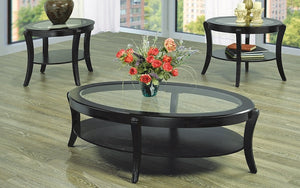 Coffee Table Set with Glass Insert Top and Shelf - 3 pc - Espresso