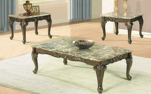 Coffee Table Set with Mable Top - 3 pc - Light Brown