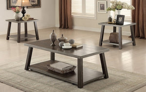 Coffee Table Set with Shelf - 3 pc - Dark Walnut