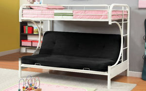 Futon Bunk Bed - Twin over Double with Metal - Black | White | Grey