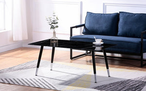 Coffee Table with Glass Marble Top - Grey | Black