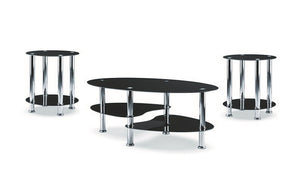 Coffee Table Set with Glass Top - 3 pc - Chrome | Black