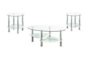 Coffee Table Set with Glass Top - 3 pc - Chrome | White
