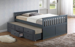 Trundle Bed with Drawers - Grey