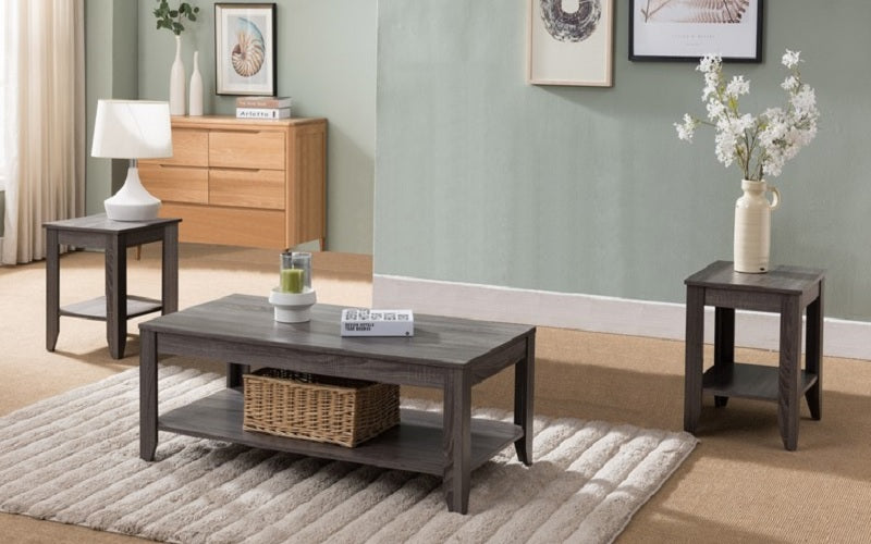 Coffee Table Set With Shelf 3 Pc Reclaimed Wood Furnberry
