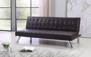 Leather Sofa Bed with Chrome Legs - Brown