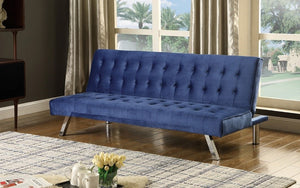 Velvet Fabric Sofa Bed with Chrome Legs - Blue