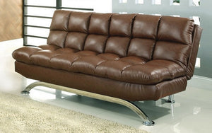 Leather Sofa Bed with Chrome Legs - Espresso