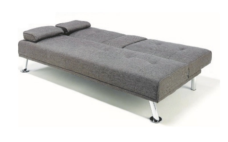 Fabric Sofa Bed with Chrome Legs - Grey