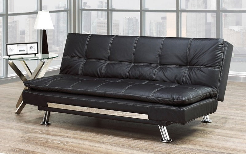 Leather Sofa Bed with Chrome Legs - Black