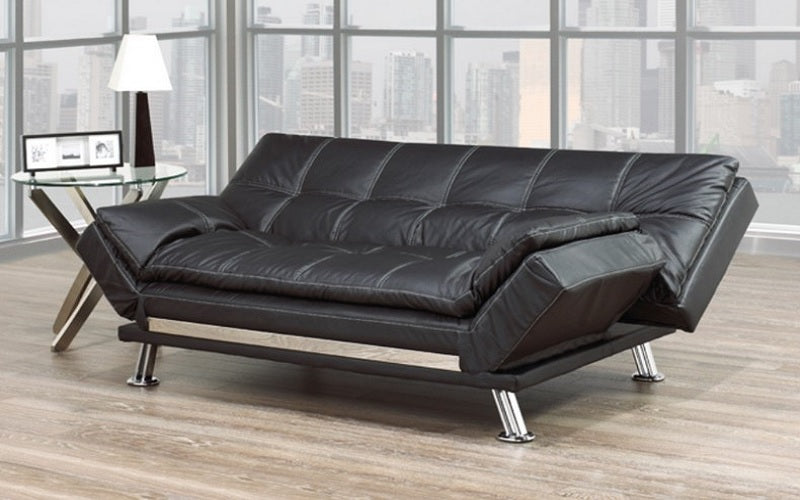 Leather Sofa Bed With Chrome Legs Black Furnberry
